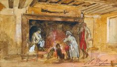 CHARLES-OLIVIER DE PENNE,  SOLDIERS WARMING BY A FIRE Penne, Barbizon School, Modern Art, Contemporary, Impressionist, Soldiers, Auction, Fire, Dogs