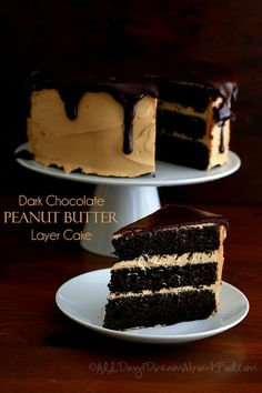 Dark Chocolate Peanut Butter Layer Cake - #LowCarb and #GlutenFree