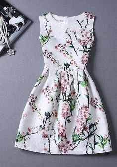 White Floral Pleated Sleeveless Fashion Dress