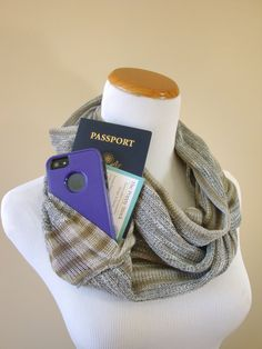 Grey Striped Infinity Scarf with Pocket, Spring Scarf, Gold, Money Belt Alternative on Etsy, $38.86 AUD