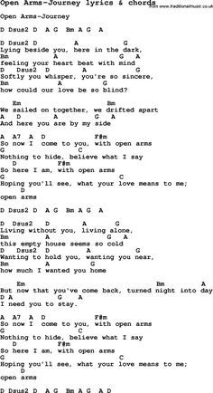 Love Song Lyrics for: Open Arms-Journey with chords for Ukulele, Guitar Banjo etc.