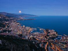 Rising Moon from Monoco looking over to Bordighera Italy ~ breathtaking! My momma was from Bordighera <3