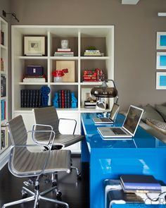 BLUE OFFICE IDEAS | Cute home office of Ivanka Trump. we Love the shiny blue very energizing | For more inspirational ideas take a look at: www.bocadolobo.com #homeofficeideas