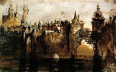 Victor Hugo  Town with tumbledown bridge, 1847  Ink wash on paper
