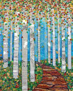 Mandala Vorlagen Items similar to Falling Leaves – Mixed Media Collage Print – Various Sizes – Tree Art – Nature Art – Birch Trees – Aspen Trees -Lisa Morales on Etsy Art Du Collage, Mixed Media Collage, Tree Collage, Kids Collage, Club D'art, Art Club, Lisa Morales, Classe D'art, Art Et Nature