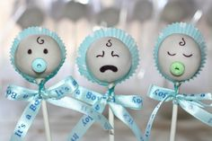 Cake pops- I need these for the boys baby shower! Lol Cake pops- I need these for the boys baby shower! Baby Shower Cupcakes For Girls, Baby Shower Treats, Baby Shower Cake Pops, Pop Baby Showers, Baby Shower Parties, Baby Cake Pops, Baby Boy Cakes, Cakes For Boys, Shower Bebe
