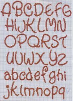 Patrones de abecedario en punto cruz con puntitos - Imagui