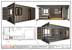 Earthcube » Plan Gallery Modern Bungalow House, Modern Tiny House, Tiny House Cabin, Small House Plans, Container Shop, Storage Container Homes, Container Design, Home Map Design, House Design