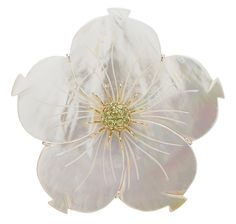 Pearl Lustre Sterling Silver Carved Mother of Pearl Flower & Gemstone Pin - Pearl Lustre - Brooches - Online Shopping for Canadians $286.00