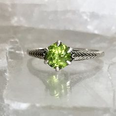 Vintage Edwardian Style Sterling Silver Peridot Filigree Solitaire Ring Size 8.25 FREE Shipping by AdornedInHistory on Etsy