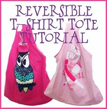 Reversible T-Shirt Tote Bag Tutorial. Great way to recyle old tshirts!