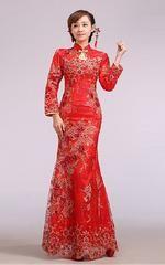Chinese Wedding Red Mandarin Mermaid Bridal Cheongsam Lace Gown - Custom-made