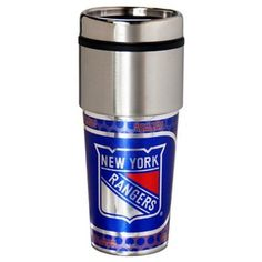 New York Rangers Official NHL 10 inch x 7 inch ounce Travel Tumbler Metallic Graphics by Great American Products, Multicolor