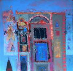 Venetian Memories by Charles MacQueen (591×571) Mixed media.  (Love the colours and the atmosphere)