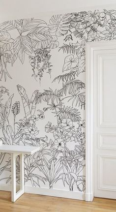Ohmywall Papier peint Jungle Tropical Noir et Blanc Big Panoramique par Caddous & The artist duo Caddous & Alvarez created this Jungle Tropical wallpaper for Ohmywall in the spirit of a mural. Mural Art, Wall Art, Tropical Wallpaper, Wallpaper Jungle, Painting Wallpaper, Painting Walls, House Painting, Painting On Wall, Painted Wall Murals