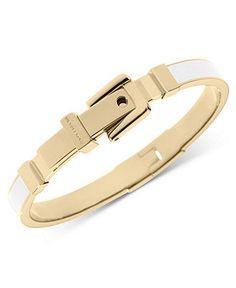Michael Kors Bracelet, Gold-Tone White Epoxy Buckle Bangle Bracelet - All Fashion Jewelry - Jewelry & Watches - Macy's