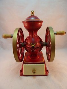 Antique Coffee Mill Grinder John Wright USA Red Cast Iron Double Wheel Gold Trim #JohnWright