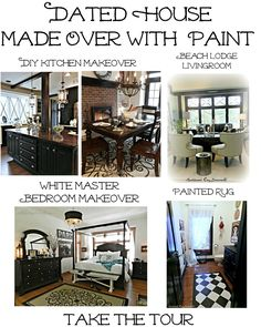 Take the tour of a dated house made over by a stay at home mom, and her husband using mostly paint and other affordable DIY techniques.