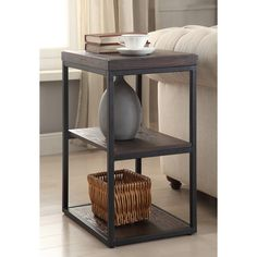 This Somette end table will complete the look of your home. The wood finish and pecan color of this rectangle end table gives it a unique look that will enhance your style.