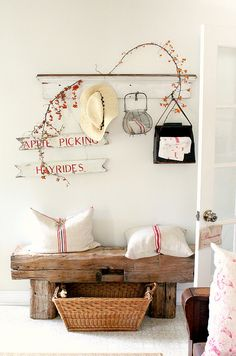 Look at that bench! This looks fantastic all decorated for fall. - Décor de Provence: Festive...