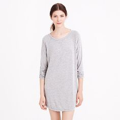 WHISPER JERSEY NIGHTSHIRT IN STRIPE (heather graphite ivory): super-drapey. With an easy baseball-style fit and a longer length