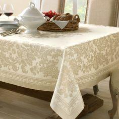 Antique Floral Jacquard Tablecloth