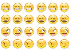 24 x Emoji Happy Smiley Faces  Cupcake Fairy Cake Toppers Edible Wafer Paper