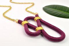 RIPPLE NECKLACE -thread wrap rope necklace, textile necklace, statement, asymmetric, long chain, two-tone, unique pendant, purple, gold