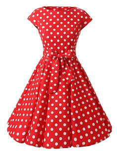 8375e20bbb8aa1   33.99  Dames Uitgaan Vintage Katoen A-lijn Jurk - Polka dot