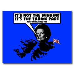 Funny Thatcher Falklands Post Card #funny #Britain #british #falklands #thatcher #union #jack