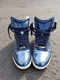 180723235 Dior Homme Mens Authentic Rare metallic blue Lace Up Leather Sneakers Size  40  fashion