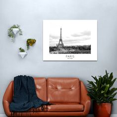 """""""Grayscaled Poster of the Eiffel Tower by day for Paris lovers and French black and white wall art design gift of France Photographic Print"""" Metal Print by frmzwallarts 