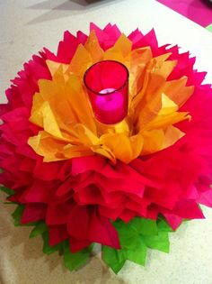 paper flower (flame-less) candleholder