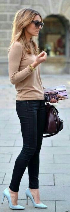 Beige sweater with black jeans and cute turquoise heels.
