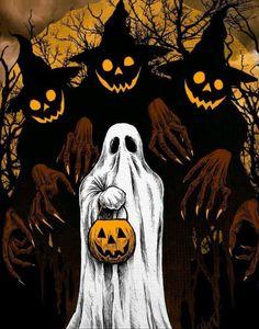 Trick or Treat ! Retro Halloween, Halloween Tags, Halloween Kunst, Halloween Artwork, Halloween Drawings, Halloween Painting, Halloween Desserts, Halloween Pictures, Halloween Horror