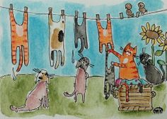 Cat Laundry Birds Folk Art Watercolor Pen ACEO Original Painting