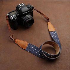 Cowboy DSLR Strap White Dot lovely strap Handmade Leather Camera Strap Brown 7115