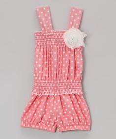 Coral Polka Dot Rosette Romper - Toddler  Girls