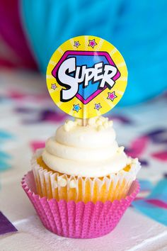 girl superhero cupcake toppers and wrappers