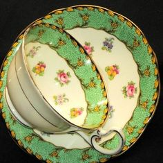 Aynsley Royal England Rose Pansy Green Tea Cup and Saucer