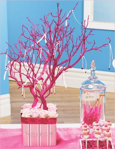 "Pink Ribbon Tree Centerpiece Ribbon tree - I like the idea of making a ""good wishes"" tree, writing on ribbons and tying them to the tree.Ribbon tree - I like the idea of making a ""good wishes"" tree, writing on ribbons and tying them to the tree. Dollar Store Crafts, Dollar Stores, Tree Branch Centerpieces, Coral Centerpieces, Centrepieces, Do It Yourself Jewelry, Pink Trees, Creation Deco, Pink Parties"