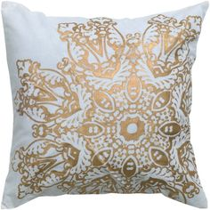 "Cotton pillow cover. Front/back made of 100% cotton, metallic printing details. Spot Clean Only. Made in India. Dimensions: 18"" x 18"""