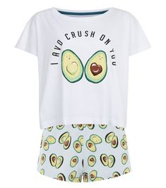 Green Avocado Print Pyjama Set   New Look