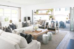 White Roll Arm Sofa with Grey Pillows, Cottage, Living Room