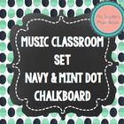Music Anchor Charts Navy & Mint Dot Chalkboard Theme