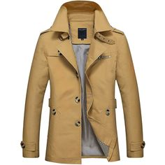 0522a53b1764c Business Casual Trench Coat Washed Cotton Turndown Collar Jacket for Men  Online - NewChic Mobile.