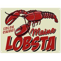 Fresh Caught Maine Lobsta Metal Sign   Vintage Seafood Signs   RetroPlanet.com