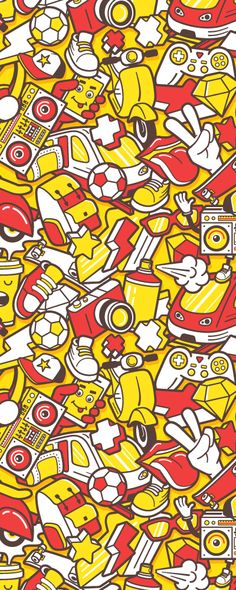 Urban lifestyle elements. Created by Yurlick Vector seamless pattern. #graffiti #vector #pattern #doodle #youth #street #cool #urban #seamless #creative #crazy #style #background #trendy #graffity #art #music #swag #skateboard #print #elements #lifestyle