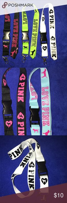 "PINK Breakaway Lanyard / Keychain NEW SPECIAL: BUNDLE ANY THREE LANYARDS FROM ANY LISTING FOR $15 ~ Use for your phone, camera, ID cards, keys, etc.  Listing is for ONE lanyard ~ Currently have five colors available ~ Overall length is 21"" Long and 1"" Wide ~ Nice Quality and Material ~ Durable Nylon/Polyester Blend ~ Smoke Free Home ~ Fast Shipping PINK Victoria's Secret Accessories Key & Card Holders"