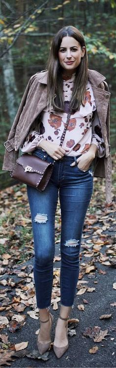 #fall #outfits top with flowers jeans suede jacket